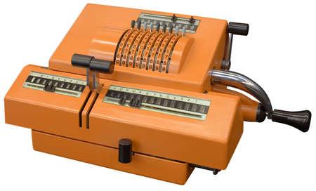 Old orange manual calculator isolated  photo