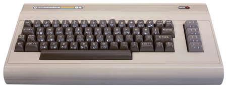 자그레브, 크로아티아 - 2011 년 1 월, 23 일 : 2011 년 전시, 기술의 아이들 - 전자 컴퓨터. 코모도어 64의 전면보기 컴퓨터는 1982 년에 발표했다. 에디토리얼