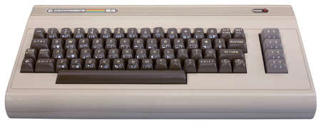 Zagreb, Croatia - January, 23th 2011: Exhibition, Children of technology - Electronic Computers. Front view of Commodore 64 Computer released in 1982.