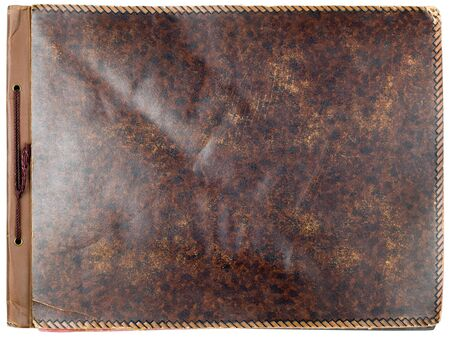 Old photo album leather cover isolated on white background photo