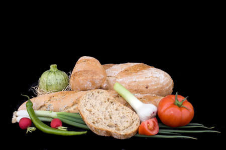 baked goods: Baked Bread Goods isolated on Black Background