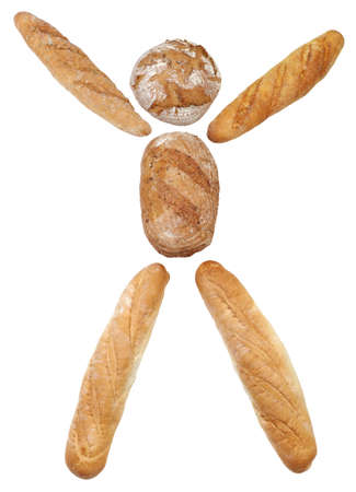 Conceptual Bread Men figure isolated on white background photo