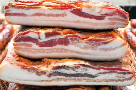 processed: Three Dried Pork Bacon Stacked