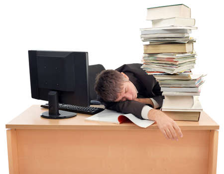 Businessman Sleeping on the Office Desk photo