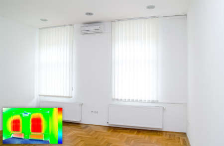 heat radiation: Picture in Picture Thermal Image of Empty Office Room