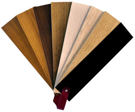 ebony wood: Wooden Color Swatch Fan Isolated with Clipping Paths