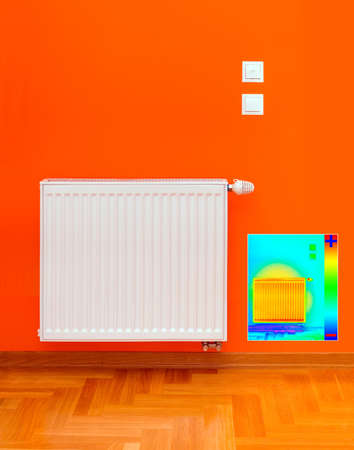 Thermal Image of Radiator Heater with Heat Loss photo