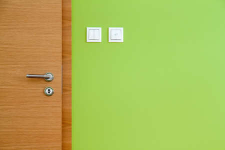 Wooden Door and Green Wall Copy Space photo