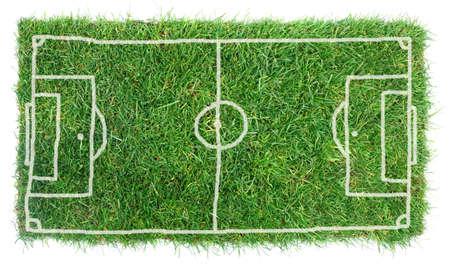 白い背景で隔離の落書きサッカー フィールド