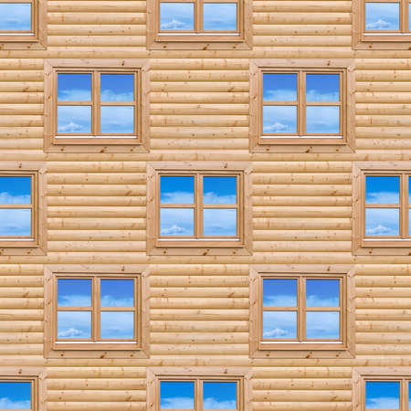 Wooden Cottage Exterior Facade Wall Seamless Pattern photo