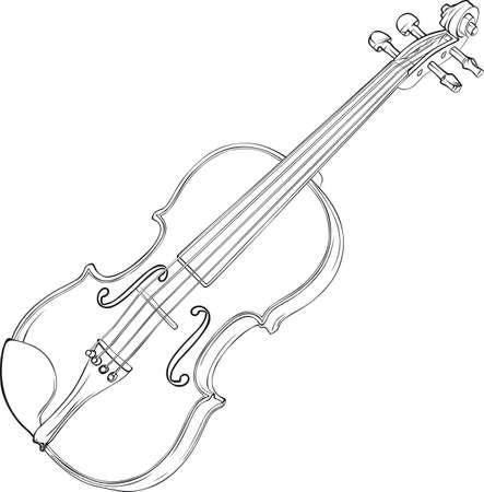 Drawing Illustration of Violin