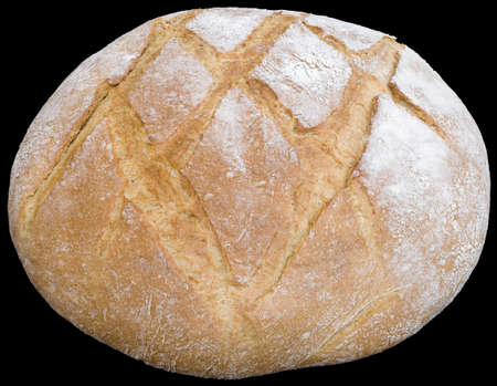 baked goods: Big Round Bread Loaf Isolated on White Background