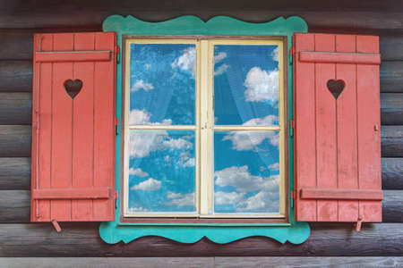 Colorful Wooden Chalet Window from Hansel and Gretel Stock Photo - 14629649