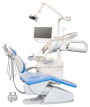 dental tools: Blue Dental Chair Isolated with Clipping Path