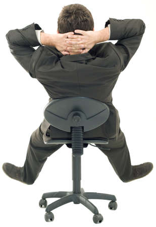 man behind: Sitting on a Chair in a relaxed Pose