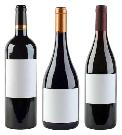 分離されたラベルのワインのボトル 写真素材