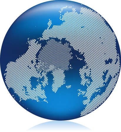 atlantic ocean: illustration of shiny blue Earth globe with round pattern dots, atlantic ocean