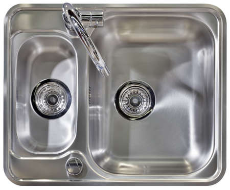 stainless steel kitchen: Stainless Water Tap and Wash Sinks Isolated  Stock Photo