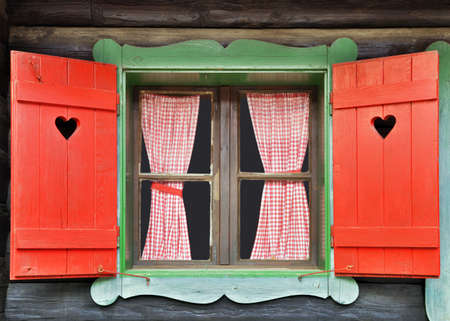 Colorful Wooden Chalet Window Stock Photo - 16385194