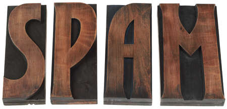 The Word Spam in Wooden Letterpress Printing Block Letters photo