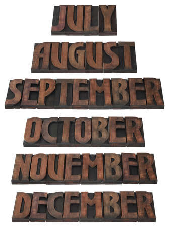 Months of the Year in Wooden Letterpress Printing Block Letters photo