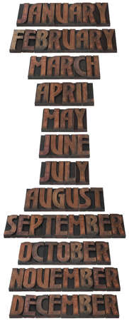 printing block: Months of the Year in Wooden Letterpress Printing Block Letters