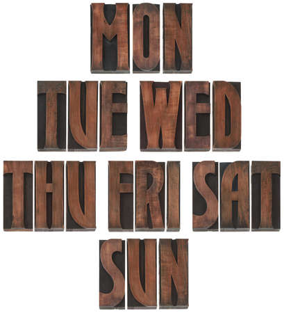 The Days of the Week Wooden Letterpress Printing Block Letters Stock Photo - 17195584