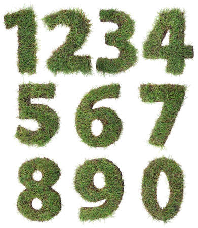 4 7: Numbers Made of Grass Turf Isolated on White Background