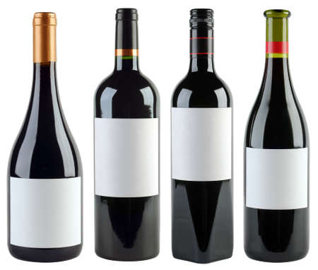 unlabeled: Four Unlabeled Wine Bottles Isolated With Clipping Path