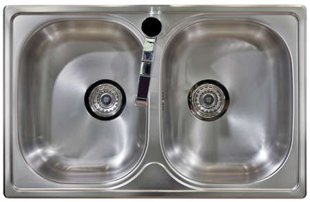 kitchen sink: Stainless Water Tap and Wash Sinks Isolated with Clipping path Stock Photo