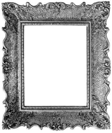 pewter: Old Silver Picture Frame with Clipping Path inside and outside