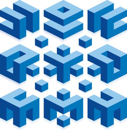 건설 사업에 대한 큐브 로고 요소 스톡 콘텐츠 - 18506740