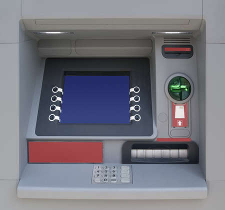 automatic teller machine: Cajero autom�tico con pantalla en blanco