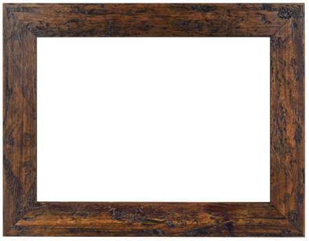Wooden Picture Frame Isolated with Clipping Path Stock Photo
