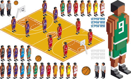 tactical: Illustration of Basketball Tactical Kit, elements are in layers for easy editing Stock Photo