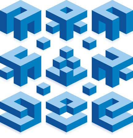 Blue Cubes for Construction Business Stock Photo - 18937892