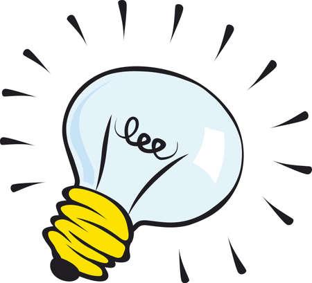 id�e lumineuse: Illustration de bande dessin�e d'ampoule isol�e sur fond blanc