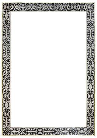 클리핑 패스와 함께 격리 된 빈 VITAGE 모로코 백랍 거울 프레임 스톡 콘텐츠 - 19142778