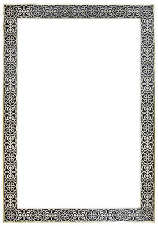 rectangular: Empty Vitage Moroccan Pewter Mirror Frame Isolated with Clipping Paths