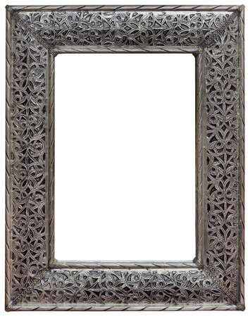silver frame: Moroccan Hewed Pewter Mirror Frame Isolated with Clipping Path