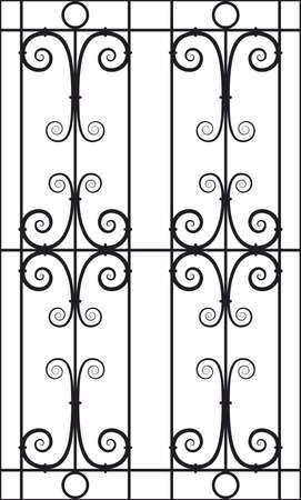 railings: Seamless Vector Illustration of Wrought Iron Design Pattern