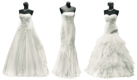 Three Wedding Dress Isolated with Clipping Path Фото со стока