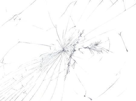 白い背景上に分離されてひびの入ったガラス