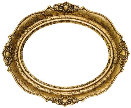ゴールデン楕円形フレーム素材 写真素材