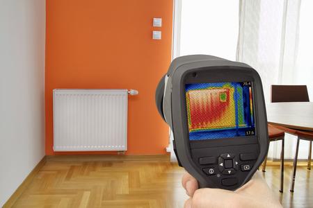 Detección de pérdida de calor en el radiador de calefacción central
