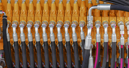 Excavator Hydraulic Pressure Hoses System Stock Photo