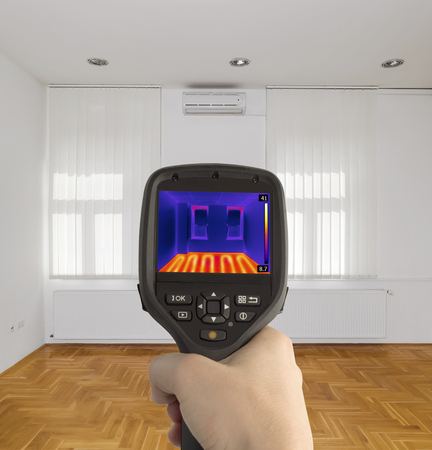Thermal Imaging of Underfloor Heating Banque d'images