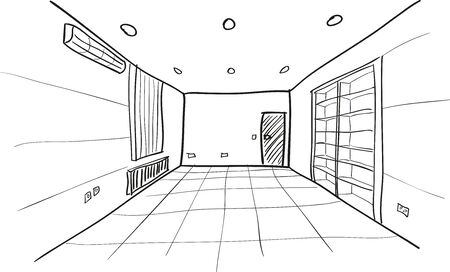 Simple del bosquejo del vector de la habitación vacía Ilustración de vector
