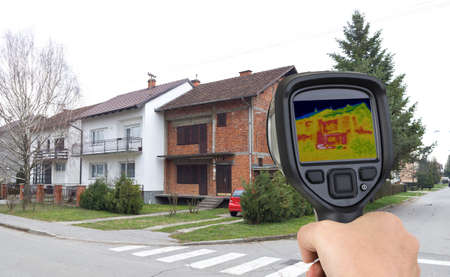 Before Facade Thermal Imaging Infrared Leak Stock Photo