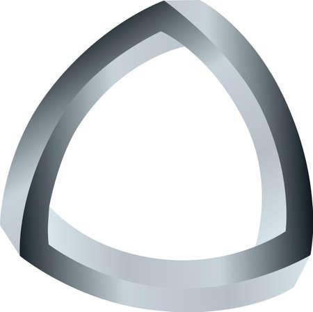 Spheric twisted triangle illusion loop illustration.